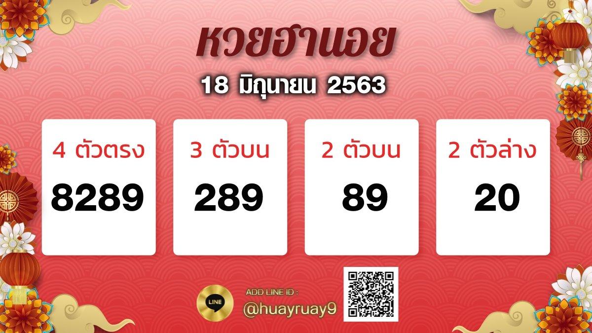 ผลหวยฮานอย 18.6.63