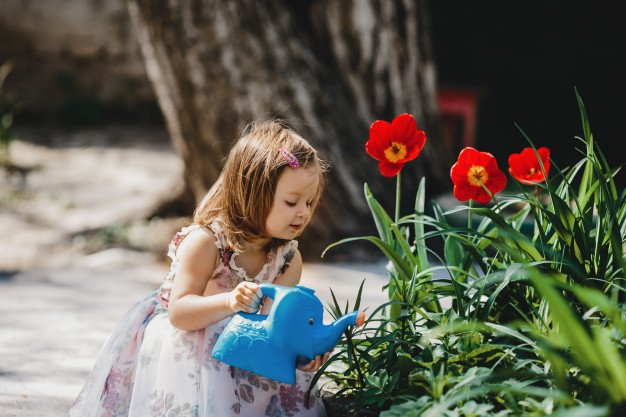 Charming Little Girl Takes Care About Flowers Garden 8353 7857