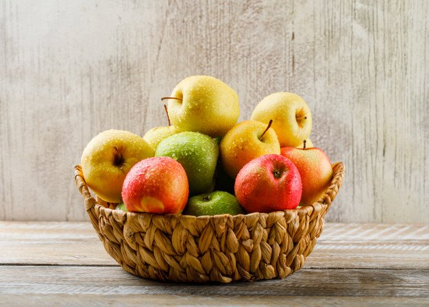 Apples With Drops Wicker Basket Light Wooden Grunge 176474 5559
