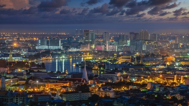 Cityscape Bangkok City With Wat Phra Kaew Wat Pho Wat Arun Morning Sunrise Time 167657 596