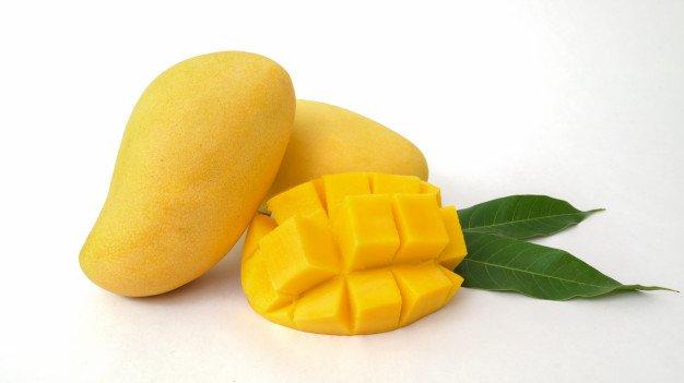 Close Up View Mangoes Fruit Mango Cut Cubes Isolated 67155 6571