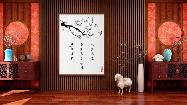 Mock Up Canvas Picture Frame Chinese Traditional Style Living Room 34259 613