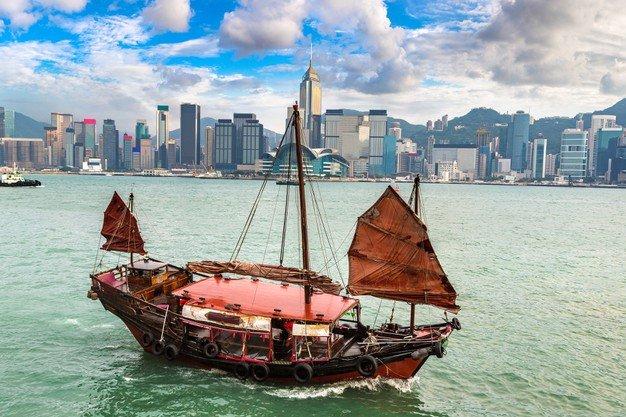Traditional Chinese Wooden Sailing Ship Victoria Harbour Hong Kong 255175 1300