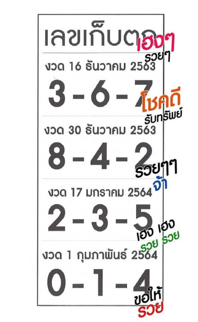 เลขเก็บตกเฮง ๆ 01/02/64