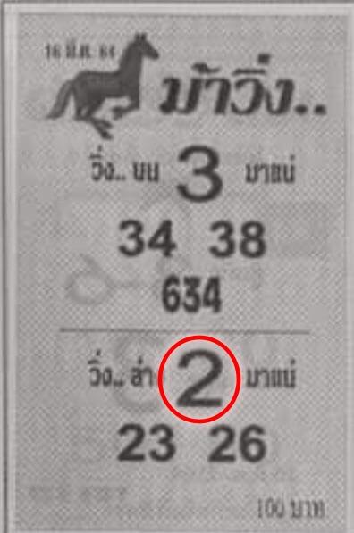 หวยม้าวิ่ง หวยรัฐบาล16/03/64
