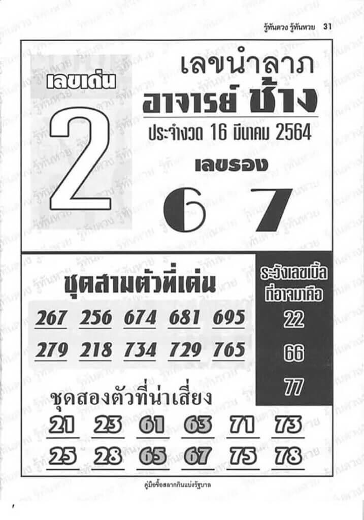 หวยอาจารย์ช้าง 16 มีนาคม 2564