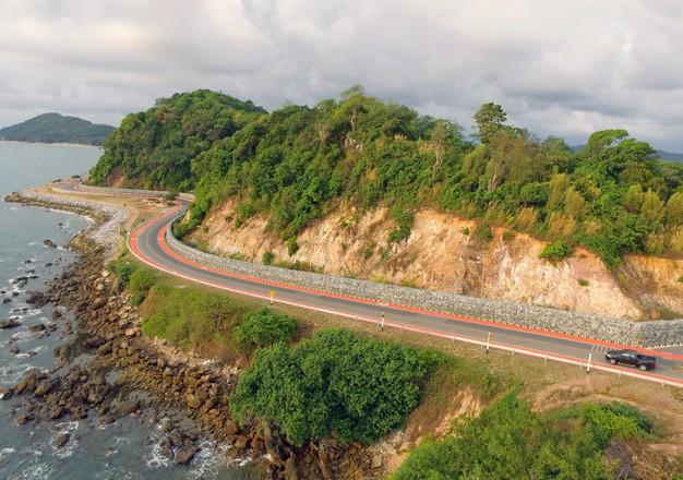 Aerial view of winding coastal route Chanthaburi, Thailand
