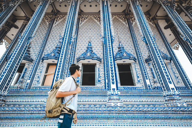 Travel man and thai temple