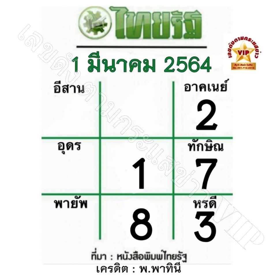 หวยไทยรัฐ1/3/64