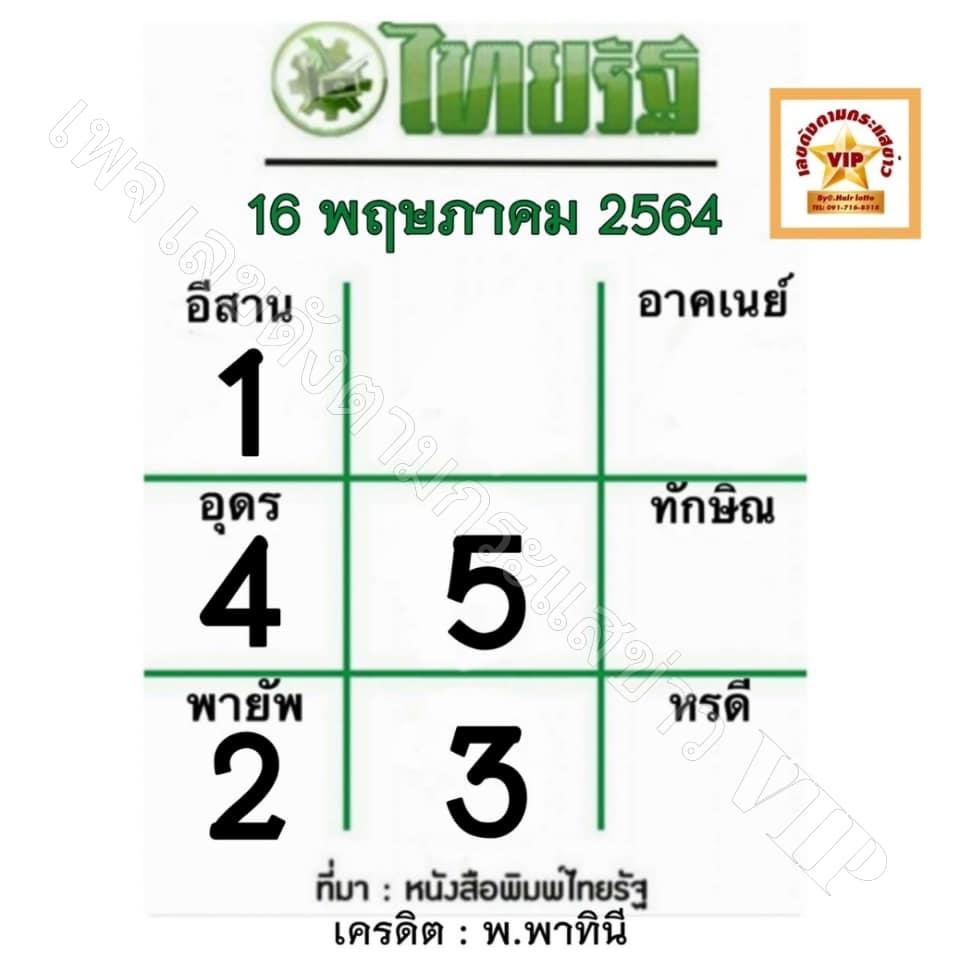 หวยไทยรัฐ16/5/64