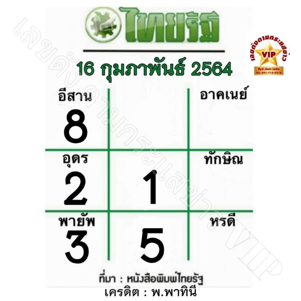 หวยไทยรัฐ16/2/64