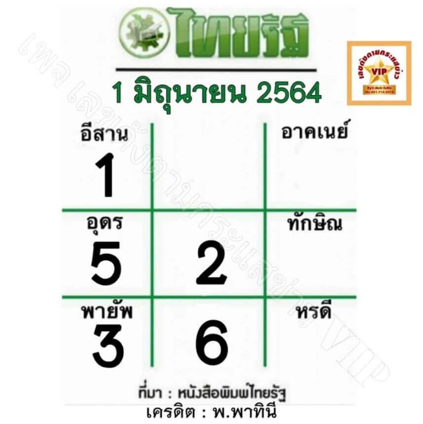 เลขไทยรัฐ1/6/64