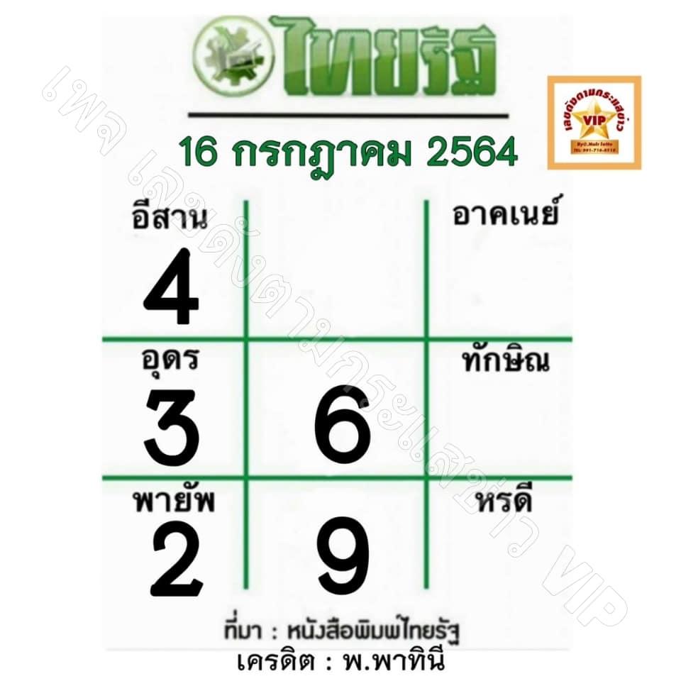 เลขไทยรัฐ16/7/64