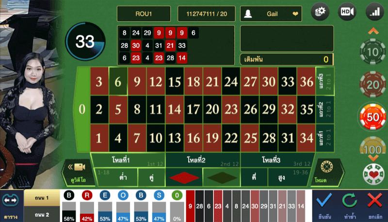 เกมรูเล็ต ใน WM casino